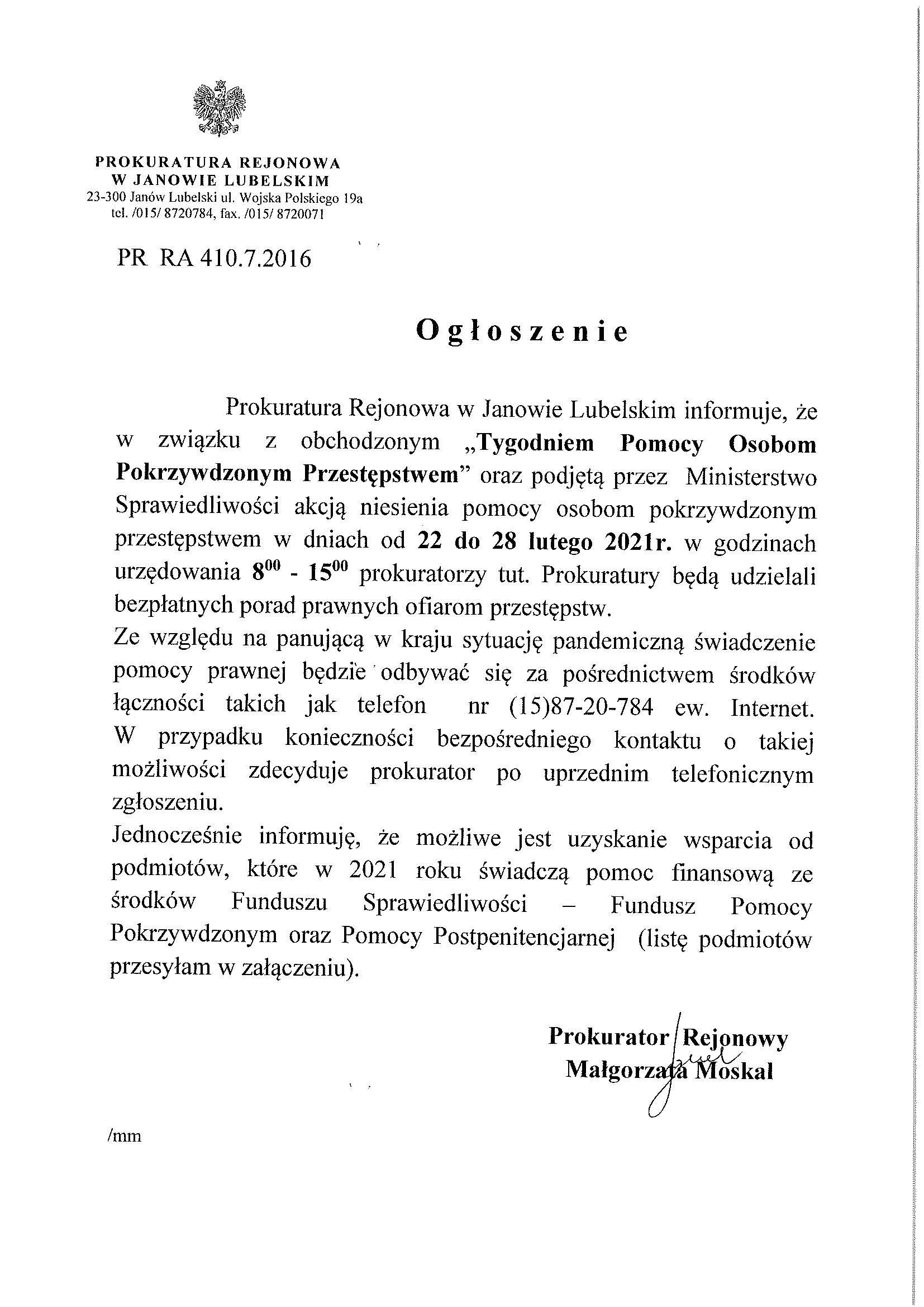 ogłoszenie od prokuratury rejonowej w janowie lubelskim