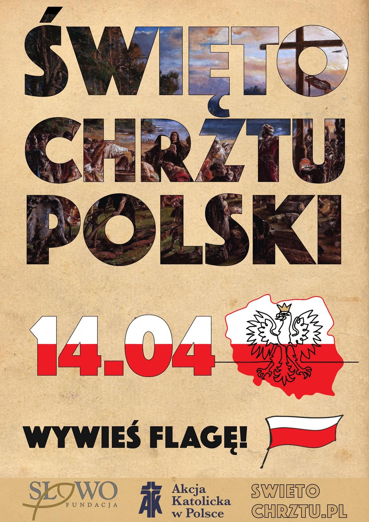 plakat promujący święto chrztu polski, wywieś falgę