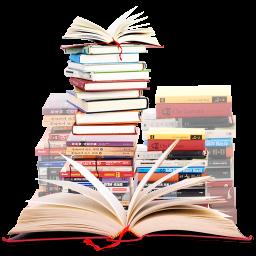 stosy książek, z jedną otwartą z przodu