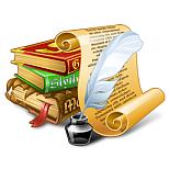 kilka rysowanych książek, o które opiera się pergamin z piórem i atramentem
