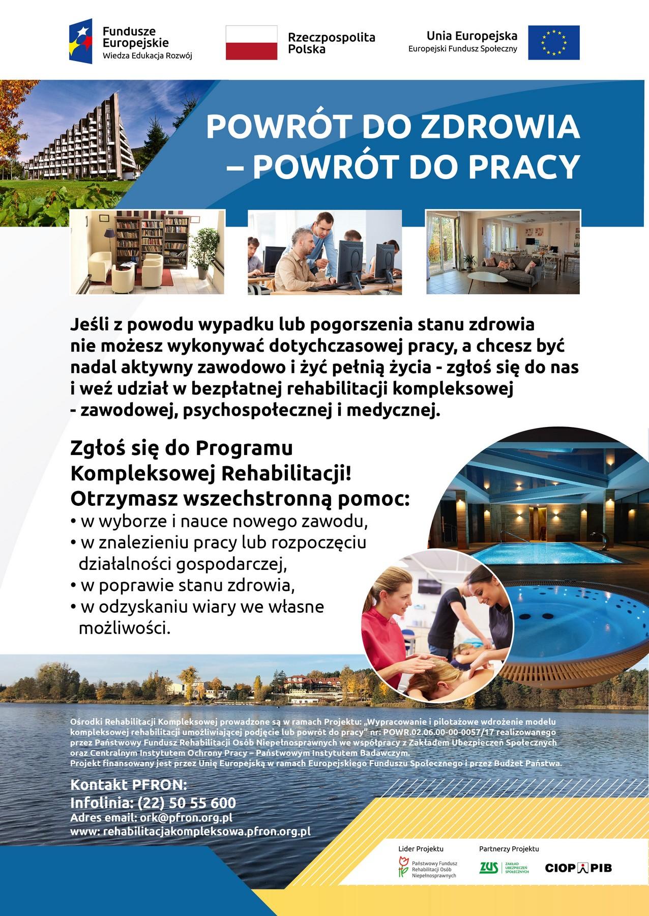 """plakat informacyjny z programu """"powrót do zdrowia - powrót do pracy"""""""