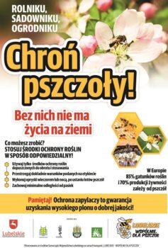 """plakat pod tytułem """"Chroń pszczoły"""""""