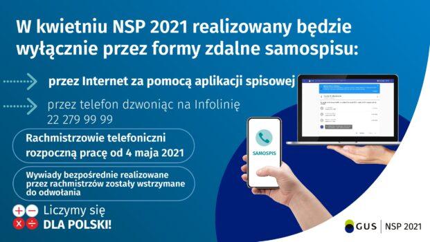 plakat informacyjny o NSP 2021 będzie tylko zdalny zapis