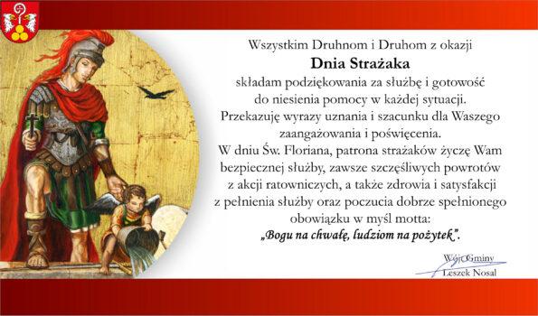 Grafika przedstawia życzenia z okazji Dnia Strażaka.