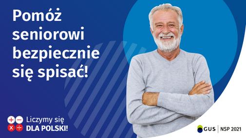 """Obrazek przedstawia baner akcji """"Pomóż seniorowi bezpiecznie się spisać!"""""""