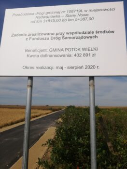 Przebudowa drogi gminnej nr 108719L w miejscowości Radwanówka – Stany Nowe od km 3+845,00 do km 5+387,00 (2)