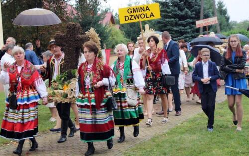 """Zdjęcie przedstawia grupę ludzi ubranych w stroje świąteczne z figury dożynkowe i niosące tebele z napisą """"Gmina Dzwola"""""""
